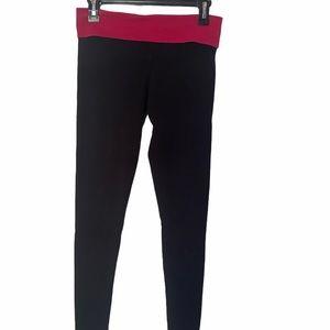 Victoria's Secret Black Pink Yoga Pants Gold Wing